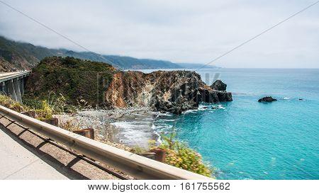 A Beautiful View of the California Coastline along State Road 1 -USA