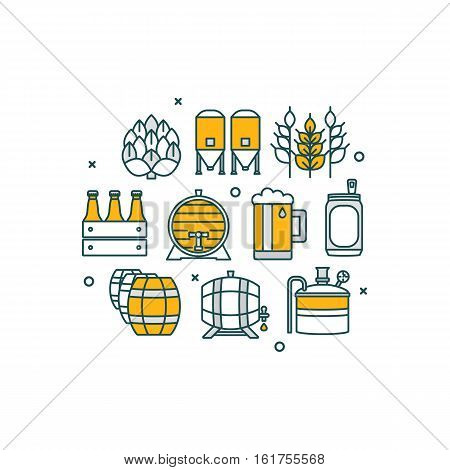 Thin line flat design banner for beer brewery and beer october festival. Modern vector illustration concept, isolated on white background.