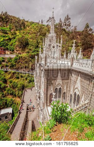 Architectural Detail On The Las Lajas Catholic Cathedral In Ipiales Colombia