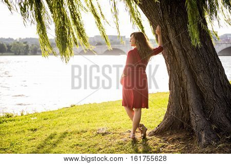Woman with long hair in red dress leaning on willow tree by Potomac River during sunset in Washington DC