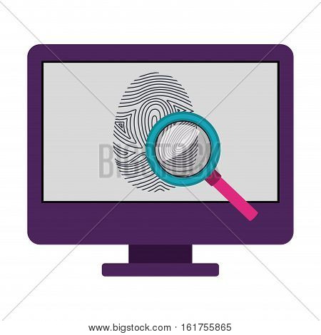 Fingerprint and computer icon. Identity security print and privacy theme. Isolated design. Vector illustration