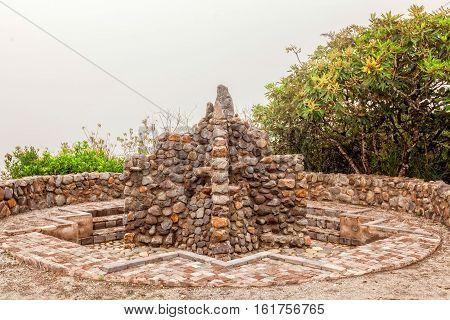 Detail Of Ancient Inca Bathroom In Laguna Cuiucocha Cotacachi Ecuador South America