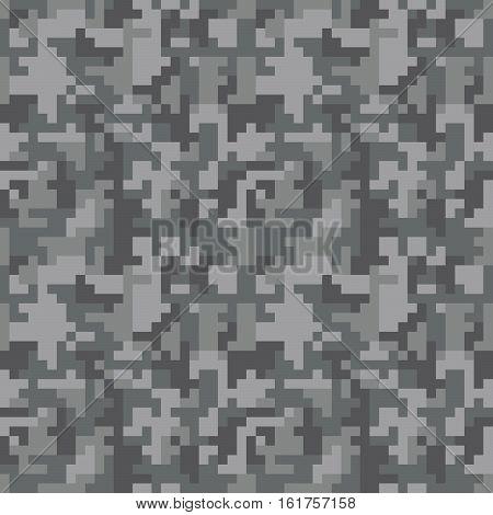 Pixel camo seamless pattern. Grey urban camouflage. Vector fabric textile print design