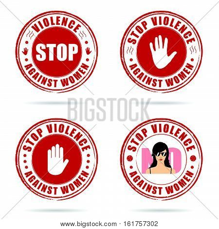 Grunge Rubber Stop Violence Against Woman Sign In Red On Hand Illustration