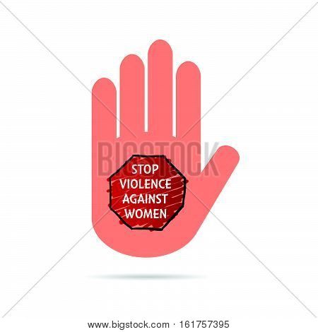 Stop Violence Sign On Hand Colorful Illustration