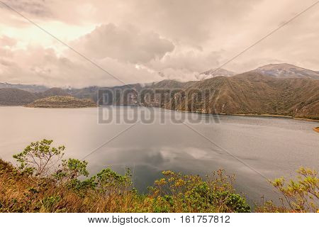Laguna Cuicocha Lake Of Guinea Pigs Or Kuychikucha Rainbow Lake Is A 3 Km Wide Caldera And Crater Lake At The Foot Of Cotacachi Volcano In The Cordillera Occidental Of The Ecuadorian Andes South America