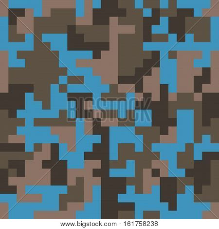Pixel camo seamless pattern. Fashion blue trendy camouflage for game industry. Vector fabric textile print design.