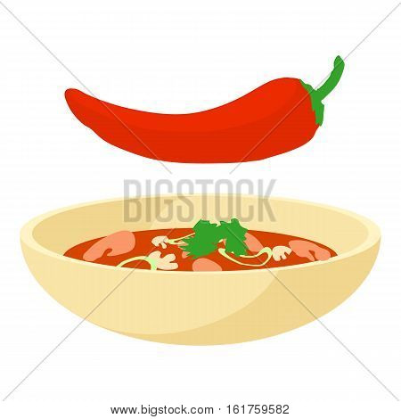 Chilli icon. Cartoon illustration of chilli vector icon for web