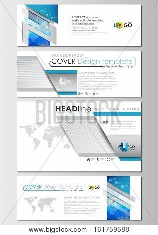 Social media and email headers set, modern banners. Business templates. Cover design template, easy editable, abstract flat layout in popular sizes. Abstract triangles, blue and gray triangular background, modern polygonal vector.