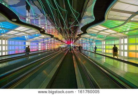 Chicago, IL, USA - September 24, 2016: Underground passage connecting terminals of the Chicago O'Hare airport