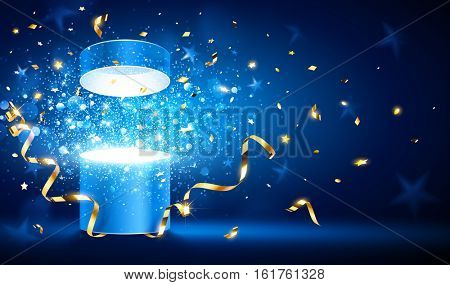 Open gift with gold ribbons and confetti. Vector illustration
