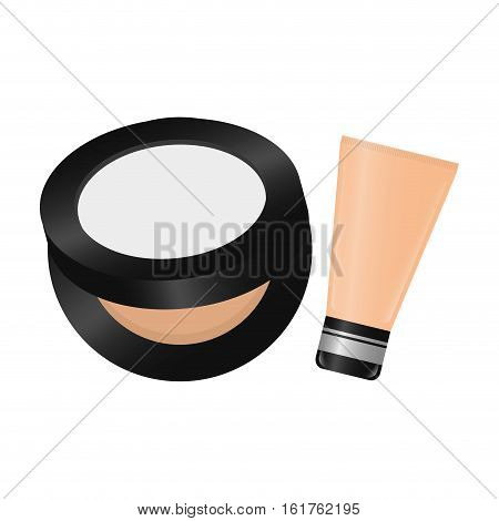 face powder and bb cream icon over white background. makeup concept. vector illustration
