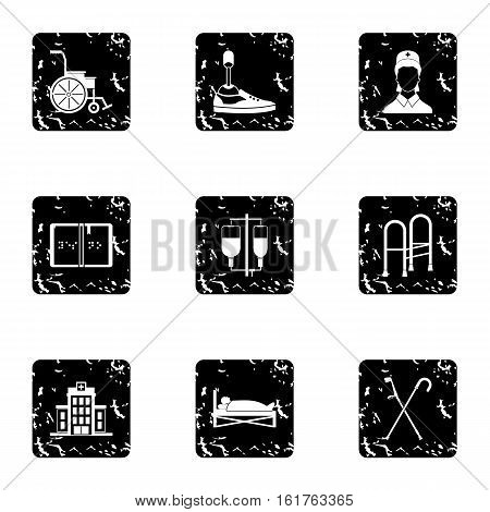 Disabled people icons set. Grunge illustration of 9 disabled people vector icons for web
