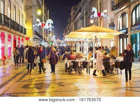 Main Tourists Street. Lisbon, Portugal