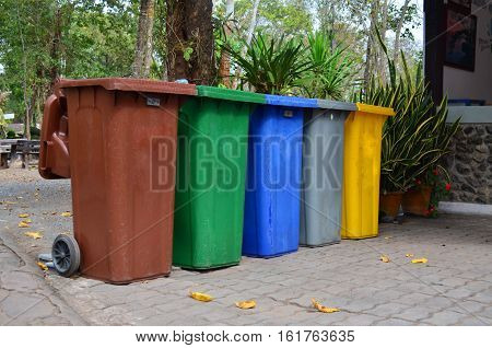 Color wheelie garbage bins for waste collection