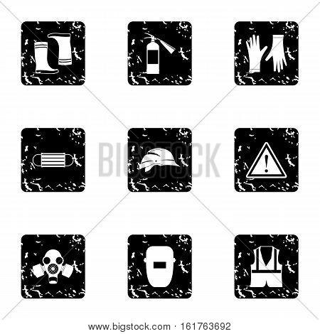 Construction ground icons set. Grunge illustration of 9 construction ground vector icons for web