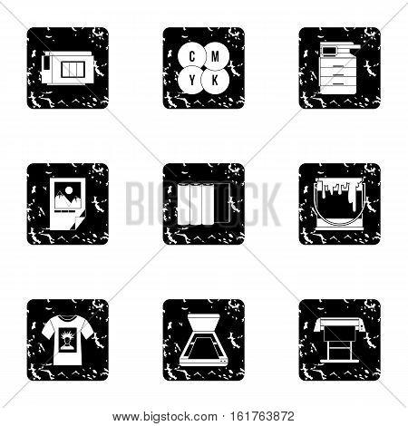 Printing services icons set. Grunge illustration of 9 printing services vector icons for web