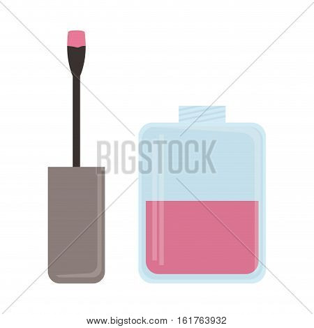 pink nail lacquer icon over white background. colorful design. vector illustration
