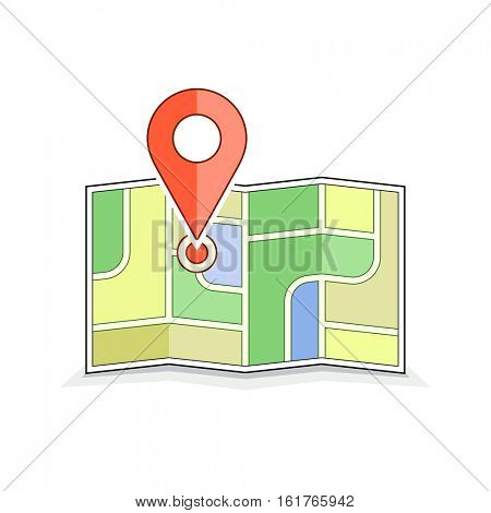 Navigation and route illustration. Map with pointer pin symbol. Vector icon for address and contact web page. Geo pin icon