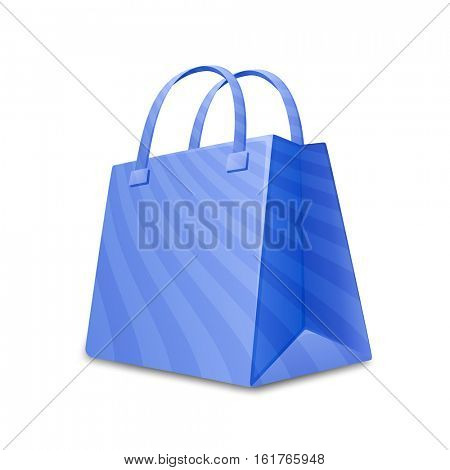 Blue sripped shopping bag. Paper bag vector icon. Vector illustration