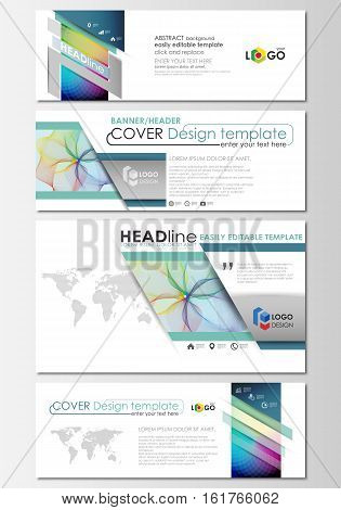 Social media and email headers set, modern banners. Business cover template, easy editable vector, flat layout in popular sizes. Colorful design background with abstract shapes, waves. Overlap effect