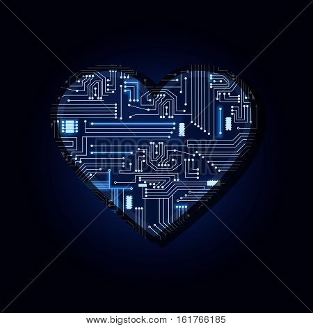 Heart With Electronic Circuit