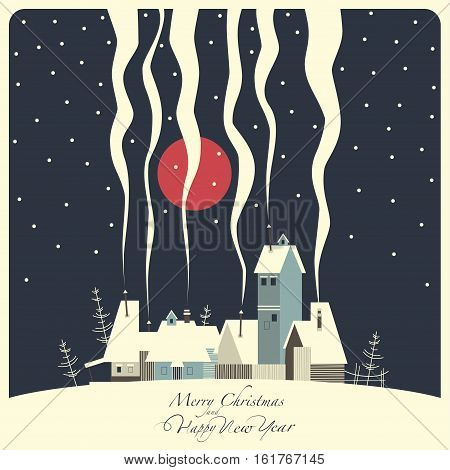 The cover of the card. Depicts a winter village on a snowy hill . From the pipes in homes is the smoke. From the sky the snow falls and the moon shines.The phrase merry Christmas and a happy New year.