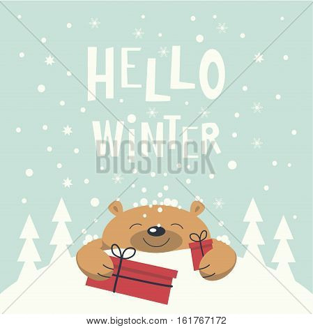 Christmas card. Brown bear lies on a snowdrift holding gift boxes in paws. Christmas trees on the snowdrift . Snowflakes falling. Phrase hello winter