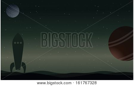 Rocket on outer space with planet landscape vector illustration