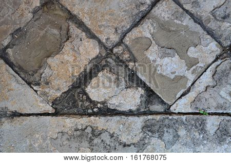 Cracked and old cement footpath for texture and background