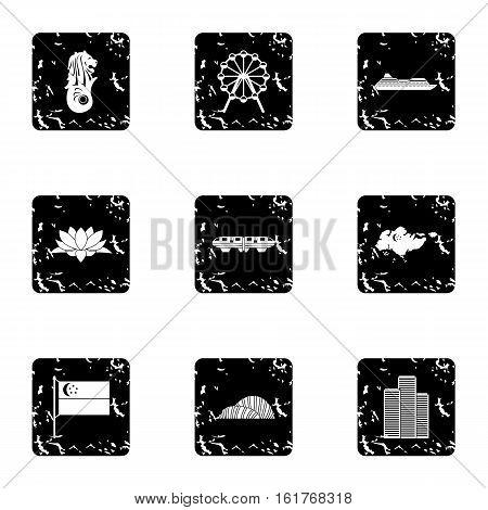 Tourism in Singapore icons set. Grunge illustration of 9 tourism in Singapore vector icons for web