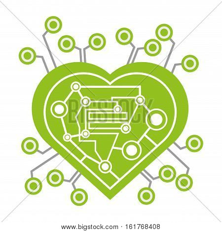 computer circuit heart electronic component vector illustration eps 10