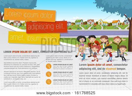 Template for advertising brochure with cartoon family in suburb neighborhood.