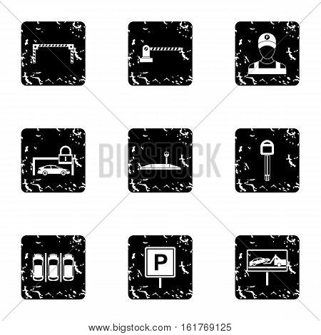 Parking area icons set. Grunge illustration of 9 parking area vector icons for web