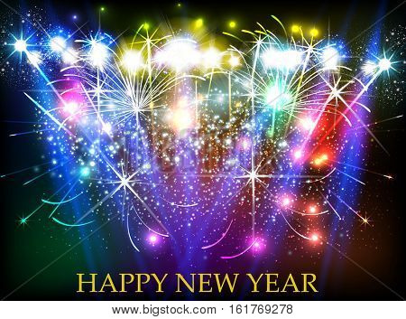 Happy New Year with fireworks background easy all editable