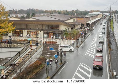 Karuizawa,Japan - 20 November 2016 : Landscape in front of Karuizawa railway station, Operated jointly by the JR Group company East Japan Railway Company.