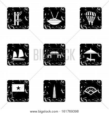 Tourism in Vietnam icons set. Grunge illustration of 9 tourism in Vietnam vector icons for web