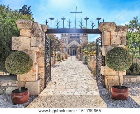 Entrance to Basilica of the Transfiguration, Mount Tabor, Galilee, Israel