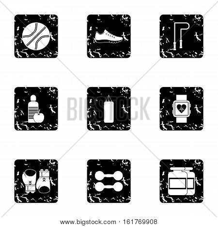 Workout icons set. Grunge illustration of 9 workout vector icons for web