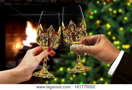 Hands toast for celebration with blurry background