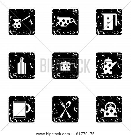 Dining items icons set. Grunge illustration of 9 dining items vector icons for web
