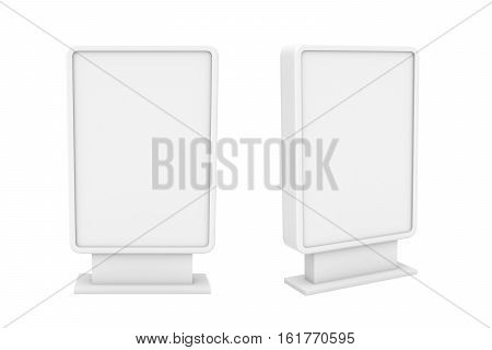 3d rendering of two small white blank street billboards without ads isolated on white background. Street advertizing. Billboards and street furniture. Business and advertizing.