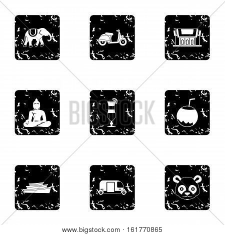 Thailand icons set. Grunge illustration of 9 Thailand vector icons for web