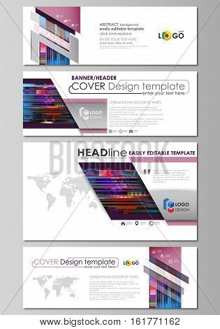 Social media and email headers set, modern banners. Business templates. Easy editable abstract design template, flat layout in popular sizes, vector illustration. Glitched background, colorful pixel mosaic. Digital style, trendy glitch backdrop.