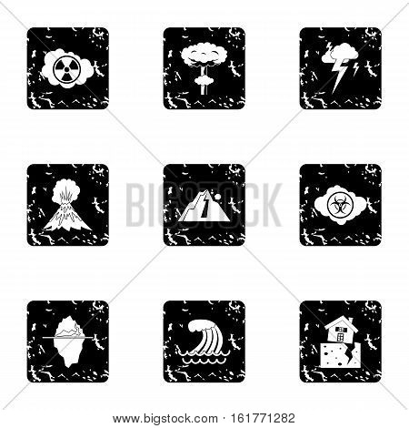 Disaster icons set. Grunge illustration of 9 disaster vector icons for web