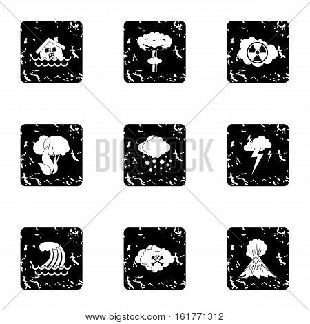 Natural cataclysm icons set. Grunge illustration of 9 natural cataclysm vector icons for web