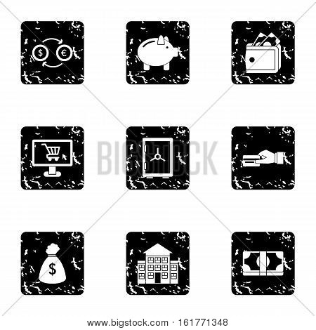 Funding icons set. Grunge illustration of 9 funding vector icons for web