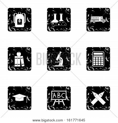 Schooling icons set. Grunge illustration of 9 schooling vector icons for web