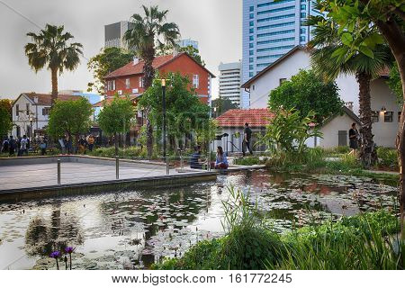 TEL AVIV, ISRAEL- APRIL 7, 2016: Modern open air commercial center and park Sarona, Tel Aviv, Israel. Sarona was a German Templer colony in Tel Aviv which is now a most popular neighborhood of the city.