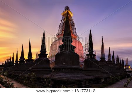 Pagoda in Thailand , Many pagodas in the temple one. Sources trip Buddhism popular in Nakhon Si Thammarat  provence , Thailand.